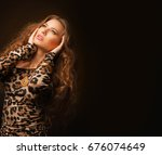 girl in leopard dress and black ... | Shutterstock . vector #676074649