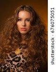 girl in leopard dress and black ... | Shutterstock . vector #676075051