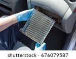 dirty cabin air filter for car | Shutterstock . vector #676079587