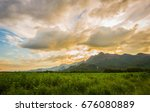 the cannabis with mountain and...   Shutterstock . vector #676080889