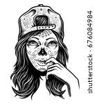 illustration of black and white ... | Shutterstock . vector #676084984