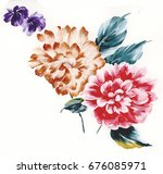 leaves flowers watercolor draw...   Shutterstock . vector #676085971