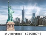 the statue of liberty with... | Shutterstock . vector #676088749
