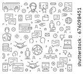 line web banner for feedback.... | Shutterstock .eps vector #676098451