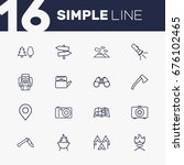 set of 16 camping outline icons ... | Shutterstock .eps vector #676102465