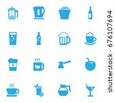 set of 16 drinks icons set... | Shutterstock .eps vector #676107694
