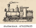steam locomotive transport.... | Shutterstock .eps vector #676109635