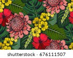 vector seamless pattern with... | Shutterstock .eps vector #676111507