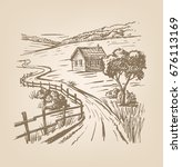 vector hand drawn village... | Shutterstock .eps vector #676113169