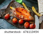 cooked sweet potato with... | Shutterstock . vector #676113454
