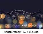 car proximity sensor concept ... | Shutterstock . vector #676116385