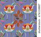 tender fabric pattern. vintage... | Shutterstock . vector #676118887