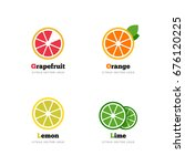 citrus vector logo. grapefruit  ... | Shutterstock .eps vector #676120225
