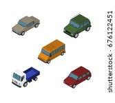 isometric car set of autobus ...