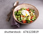 healthy and tasty salad with... | Shutterstock . vector #676123819