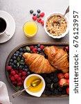 healthy breakfast with freshly... | Shutterstock . vector #676123957
