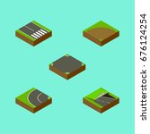 isometric road set of... | Shutterstock .eps vector #676124254