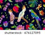 exotic summer garden. seamless... | Shutterstock .eps vector #676127095