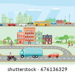 road traffic with bypass road... | Shutterstock . vector #676136329