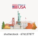 welcome to usa. united states... | Shutterstock .eps vector #676137877