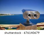 Small photo of Binoscope, Stationary binoculars with bill acceptor in the city of Antalya, Turkey
