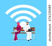 wi fi concept. young muslim... | Shutterstock .eps vector #676150489