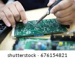 repair the electronic circuit... | Shutterstock . vector #676154821