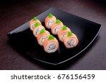 set of sushi maki philadelphia... | Shutterstock . vector #676156459