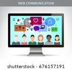 raster copy. web communication... | Shutterstock . vector #676157191
