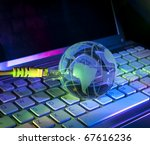 technology earth globe against fiber optic background - stock photo