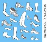 set of vector women's shoes | Shutterstock .eps vector #676169155