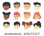 set of caucasian  african and... | Shutterstock .eps vector #676171117