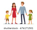 happy family standing and... | Shutterstock .eps vector #676171501