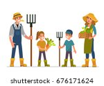 farmer and his family working... | Shutterstock .eps vector #676171624