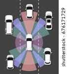 autonomous car top view. self...   Shutterstock .eps vector #676171729