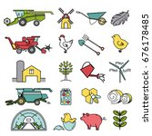 set of agriculture icons in... | Shutterstock .eps vector #676178485