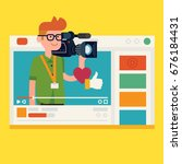 professional video operator and ... | Shutterstock .eps vector #676184431