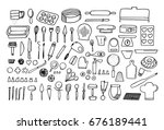 baking tools and essentials.... | Shutterstock .eps vector #676189441