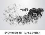 the tiger of particles. tiger... | Shutterstock .eps vector #676189864
