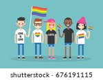 love parade. a group of people... | Shutterstock .eps vector #676191115