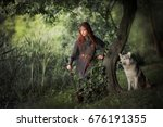 beautiful red haired girl in... | Shutterstock . vector #676191355