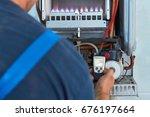 repair of a gas boiler  setting ...   Shutterstock . vector #676197664