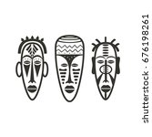 set of african mask icons in... | Shutterstock .eps vector #676198261