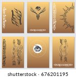 a set of cards with a style of...   Shutterstock .eps vector #676201195