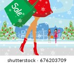 christmas shopping   winter... | Shutterstock . vector #676203709