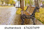 A Bench In The Park On A...