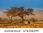 safari in africa on the suv.... | Shutterstock . vector #676208299