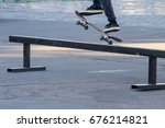 skateboarder legs riding... | Shutterstock . vector #676214821