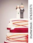 comical bride and groom... | Shutterstock . vector #676223371