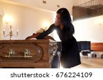 people and mourning concept  ...   Shutterstock . vector #676224109